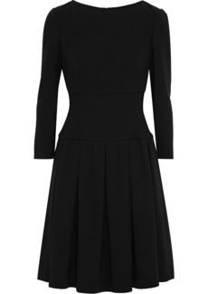 Giorgio Armani Woman Pleated Wool-crepe Dress Black