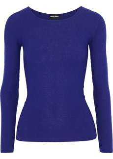 Giorgio Armani Woman Ribbed-knit Top Indigo