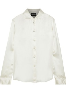 Giorgio Armani Woman Silk-satin Shirt Ivory