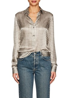 Giorgio Armani Women's Checked Silk Blouse