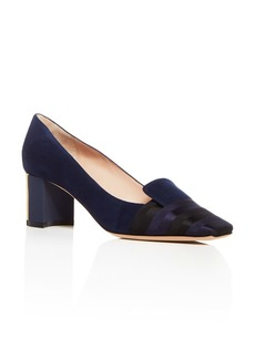 Giorgio Armani Women's Decollete Suede & Satin Striped Block Heel Pumps