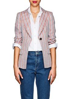 Giorgio Armani Women's Gingham Linen One-Button Blazer