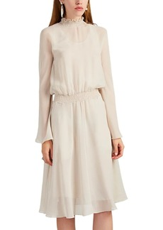 Giorgio Armani Women's Smocked-Collar Silk Chiffon Blouson Dress