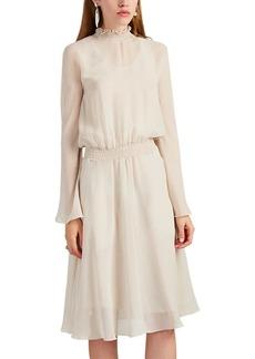 Giorgio Armani Women's Smocked-Collar Silk Chiffon Blouson Dress