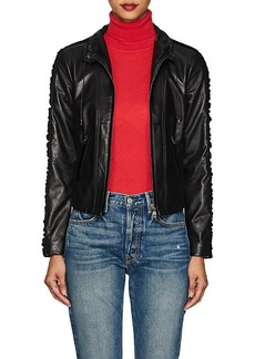 Giorgio Armani Women's Velvet-Trimmed Leather Jacket