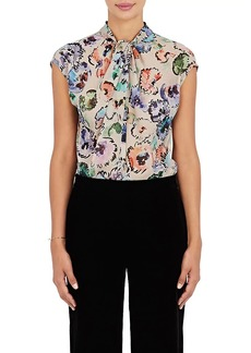 Giorgio Armani Women's Watercolor-Flower-Print Silk Blouse