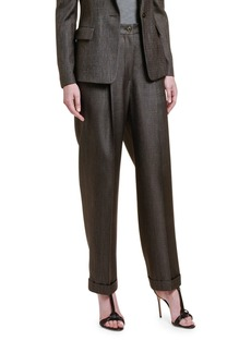 Giorgio Armani Wool-Silk High-Rise Wide Leg Pants