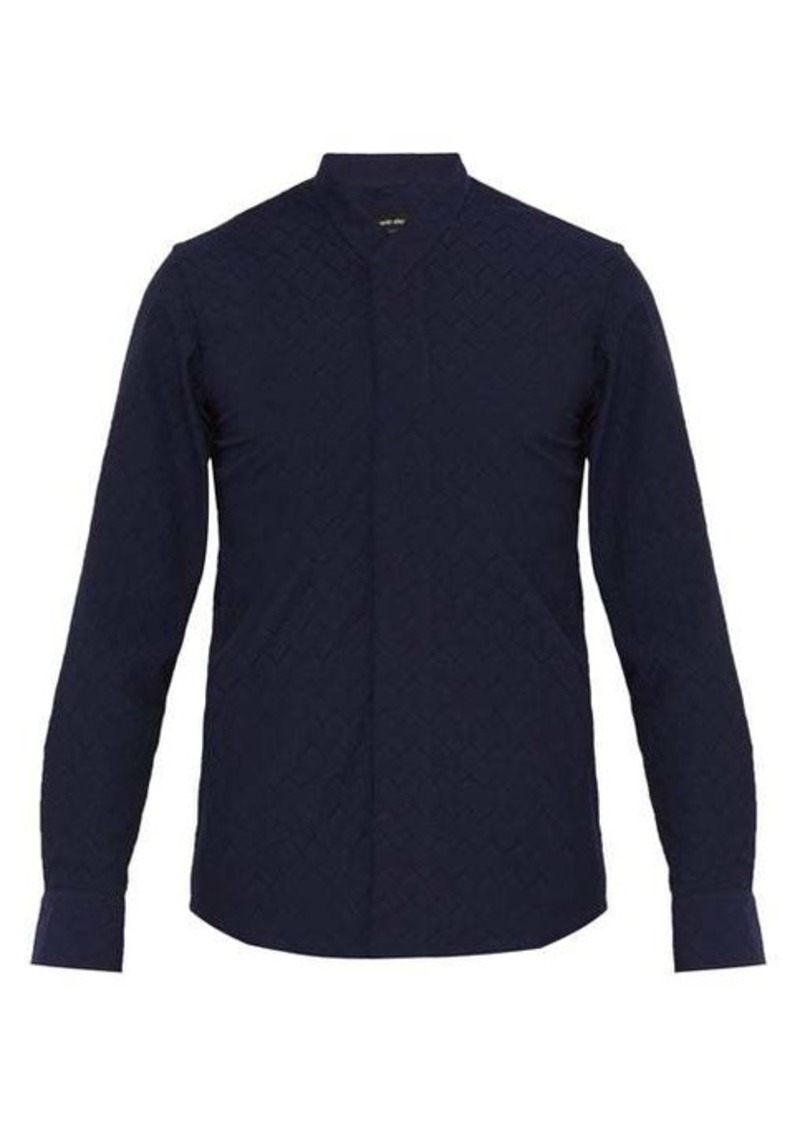 Giorgio Armani Zigzag-weave cotton-blend shirt