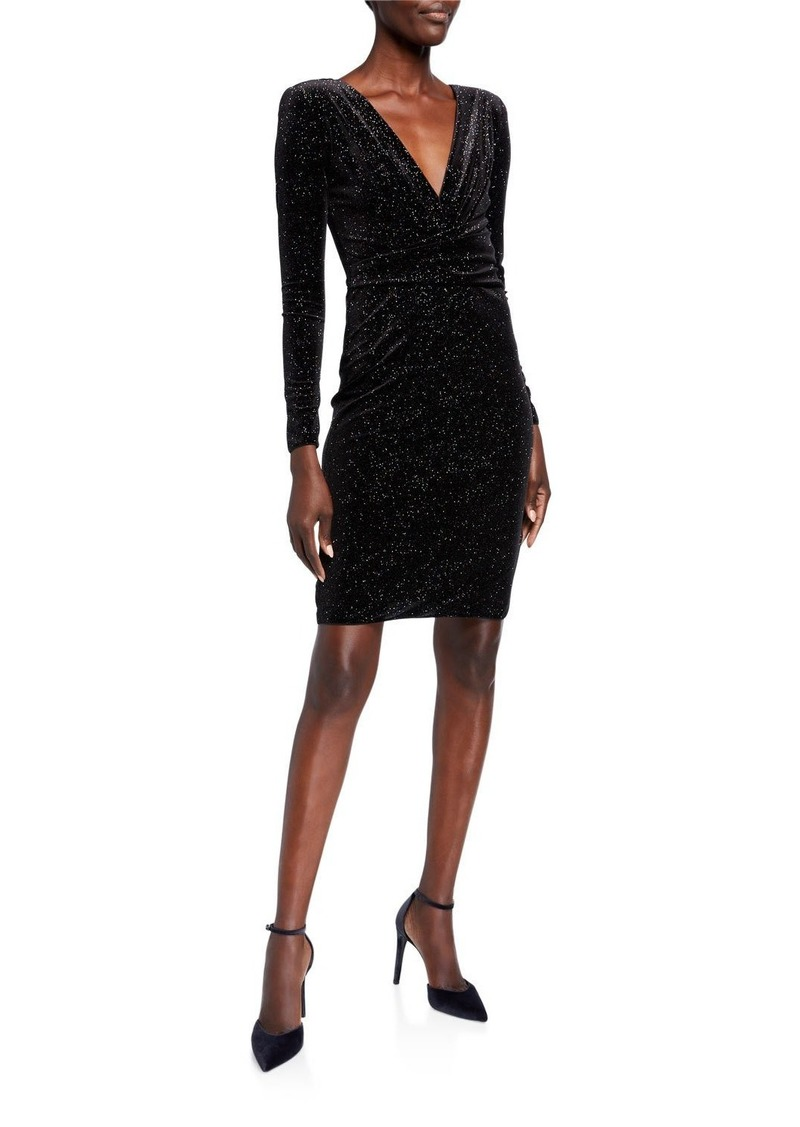 Armani Glitter Velvet Faux Wrap Long-Sleeve Dress