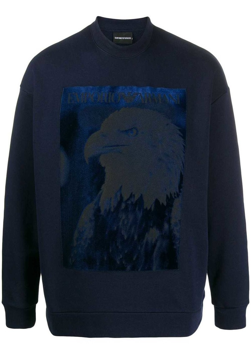 Armani glittery-eagle print sweatshirt