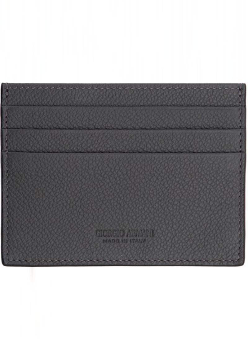 Armani Grey Tumbled Leather Card Holder