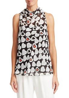 Armani Heart Print Sleeveless Blouse