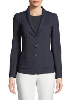 Armani Herringbone-Jersey 3-Button Blazer Jacket