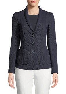 Armani Herringbone-Jersey 3-Button Blazer Jacket