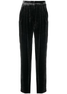 Armani herringbone-print velvet trousers