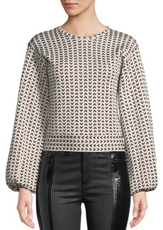 Armani Herringbone-Striped Full-Sleeve Top