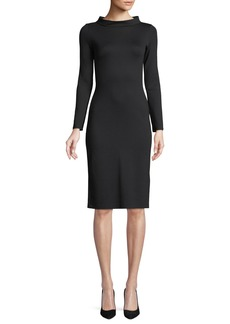 Armani High-Collar Long-Sleeve Jersey Sheath Dress