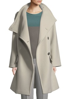 Armani High-Collar Wool Drama Coat
