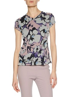 Armani High-Neck Cap-Sleeve Button-Back Floral-Print Silk Blouse
