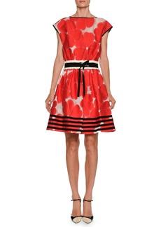 Armani High-Neck Cap-Sleeve Floral-Jacquard Cotton-Silk Dress