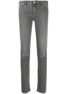 Armani high rise skinny fit distressed jeans