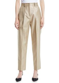 Armani High-Waist Straight-Leg Metallic-Wool Pants