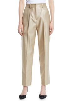 Armani High-Waist Straight-Leg Metallic-Wool Pants