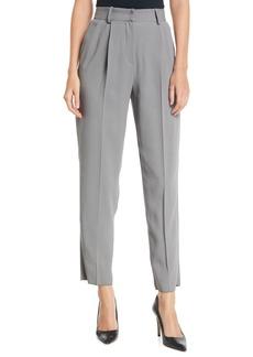 Armani High-Waist Straight-Leg Pleated Cady Pants