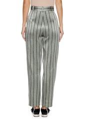 Armani High-Waist Straight-Leg Striped Satin Trousers