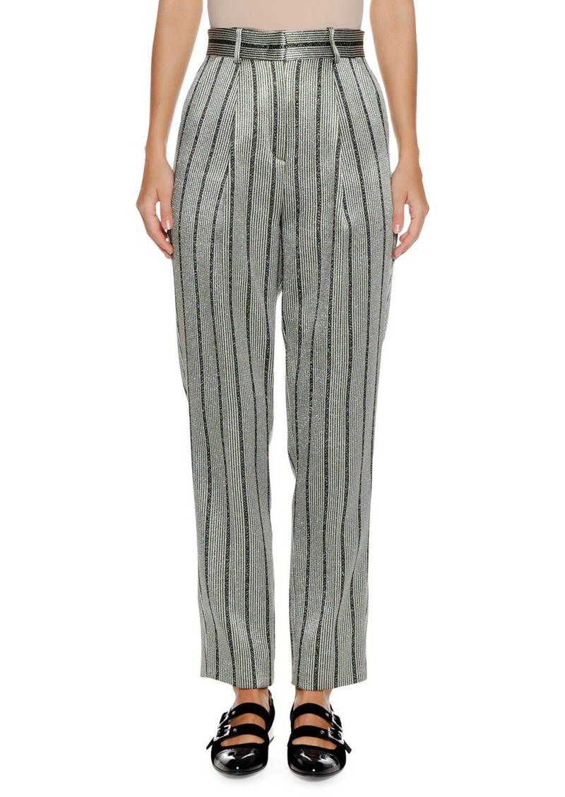 Armani High-Waist Straight-Leg Striped Satin Trousers