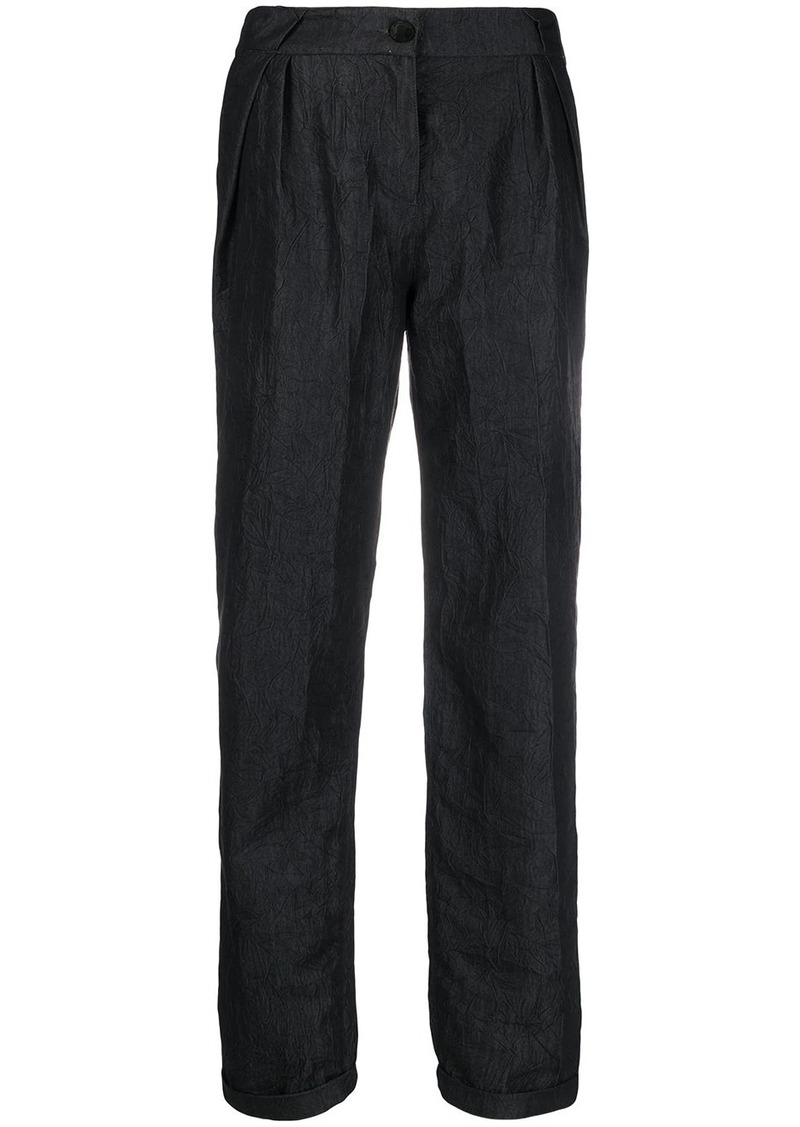 Armani high waisted crinkled trousers