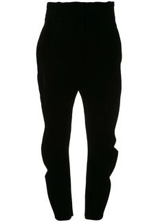 Armani high-waisted velvet trousers
