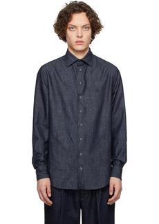 Armani Indigo Exclusive Edition Herringbone Shirt