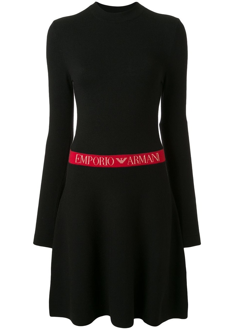 Armani jacquard-logo knitted dress