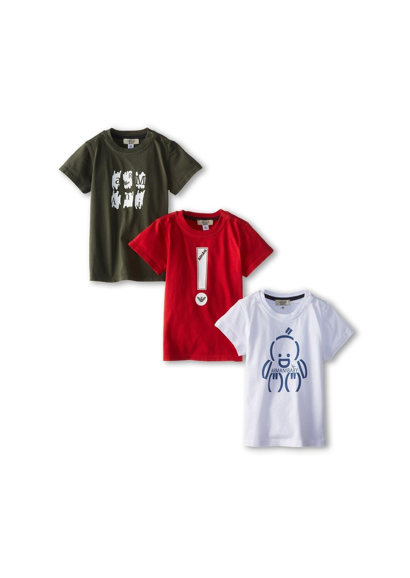 Armani Junior Three-Piece T-Shirt Pack in Red/White/Green (Infant)