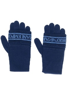 Armani knitted logo gloves