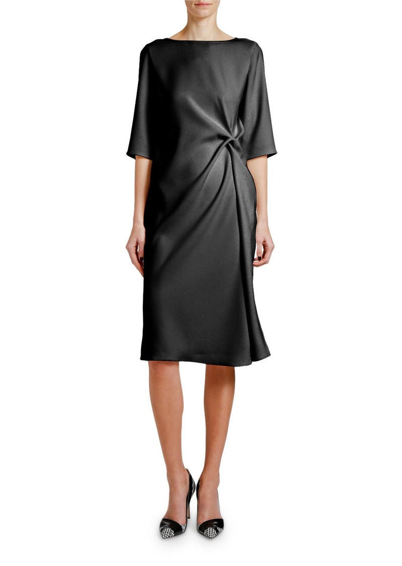 Armani Knotted Techno Cady 1/2-Sleeve Dress