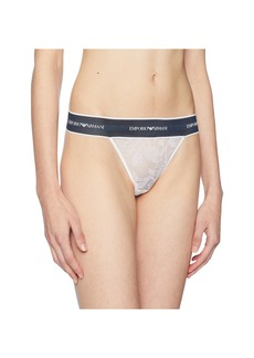 Armani Lace Thong with Branded Waistband