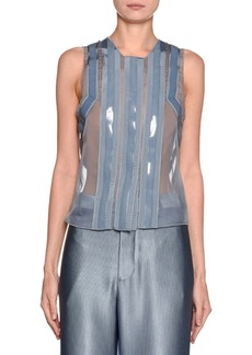 Armani Laminate-Taped Georgette Blouse