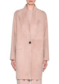 Armani Laser-Cut Long Suede Jacket
