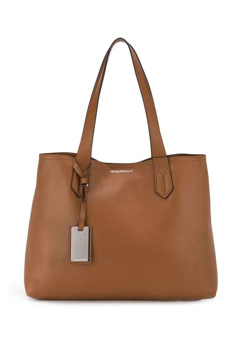 Armani leather-tag tote bag