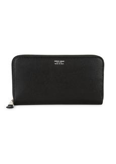Armani Leather Zip-Around Long Wallet