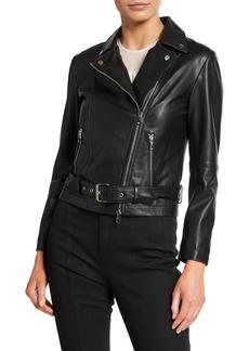 Armani Leather Zip-Front Biker Jacket