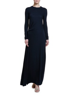 Armani Lightweight Ruched Jersey Long-Sleeve Gown