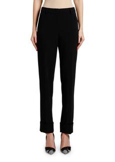 Armani Lightweight Slim-Leg Wool Cuffed Pants