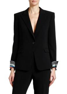 Armani Lightweight Wool Jacket w/ Striped Cuffs