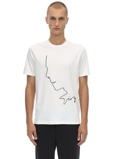 Armani Logo & Profile Embroidery Cotton T-shirt