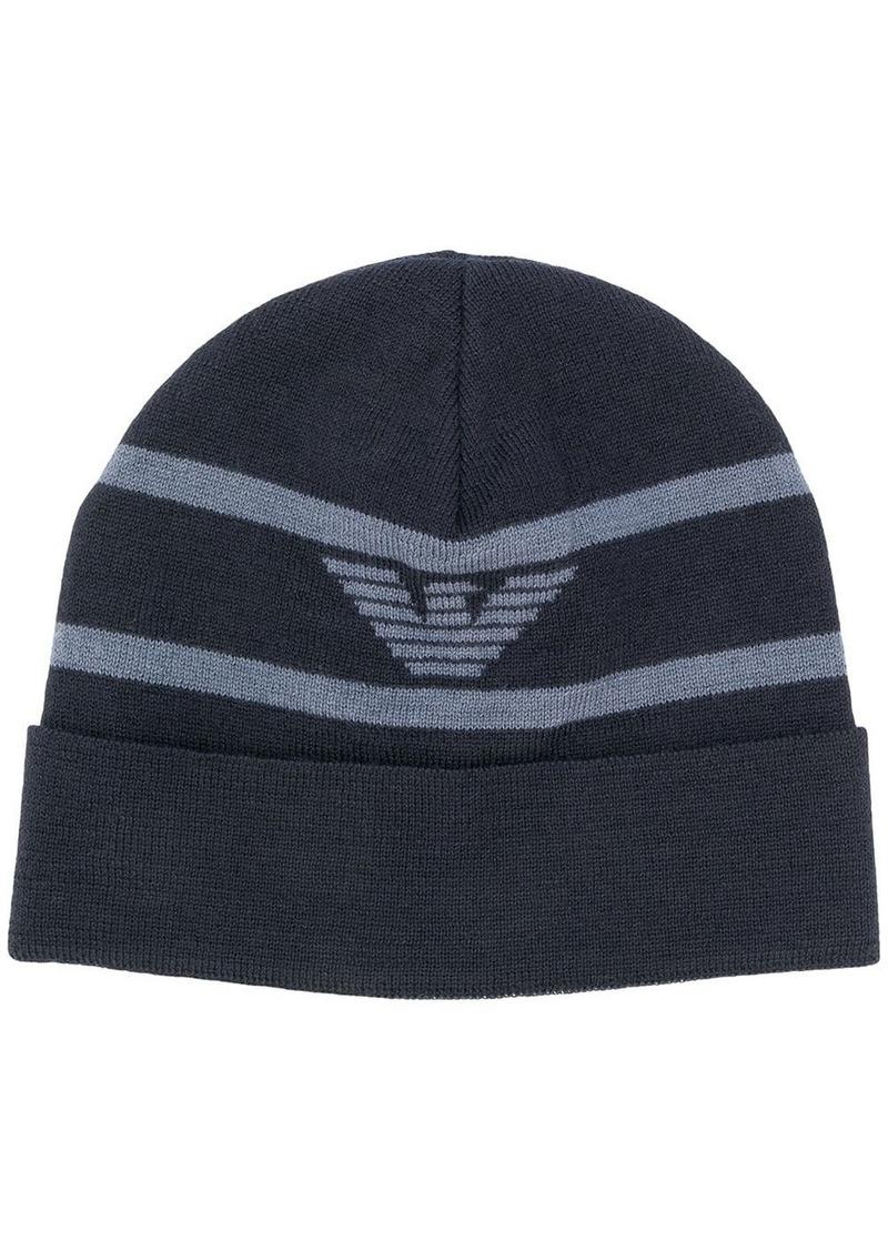 Armani logo printed beanie hat