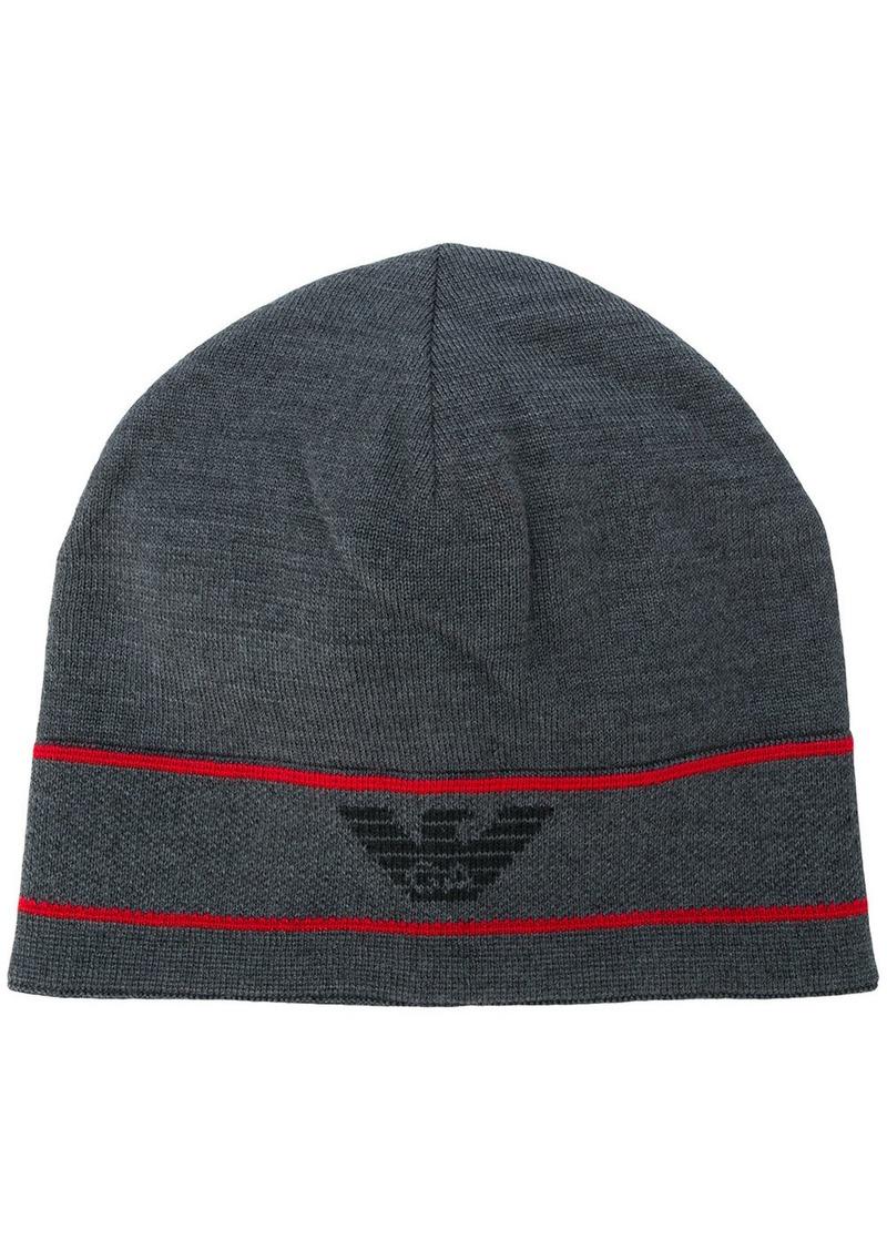 Armani logo beanie hat