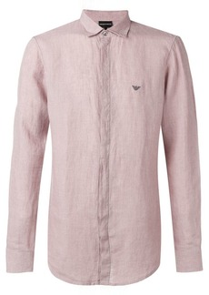 Armani logo concealed button shirt